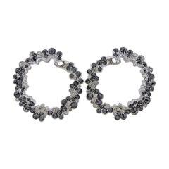 Stefan Hafner Black Diamond Gold Circle Earrings