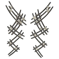 Stefan Hafner Black and White Diamond Gold Cocktail Earrings