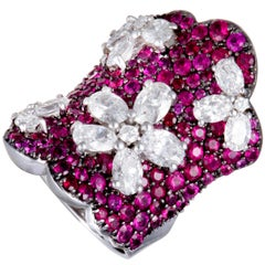 Stefan Hafner Diamond and Ruby Pave Flowers White Gold Curved Ring