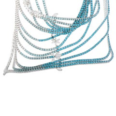 Stefan Hafner Diamond Aquamarine and Topaz 13 String White Gold Collar Necklace