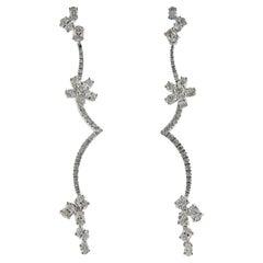 Stefan Hafner Diamond Gold Flower Long Earrings