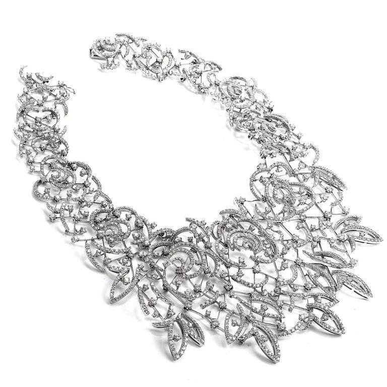 Art Deco Stefan Hafner Diamond Lace 18k White Gold chocker Necklace For Sale