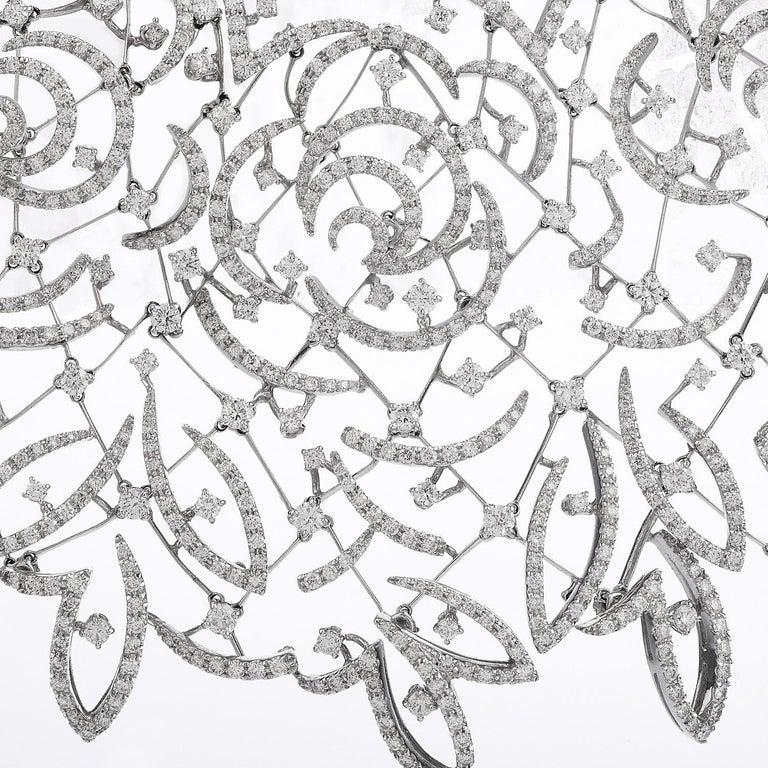 Women's Stefan Hafner Diamond Lace 18k White Gold chocker Necklace For Sale