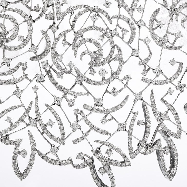 Stefan Hafner Diamond Lace 18k White Gold chocker Necklace For Sale 2