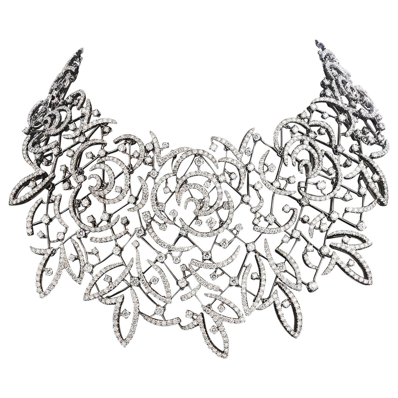 Stefan Hafner Diamond Lace 18k White Gold chocker Necklace