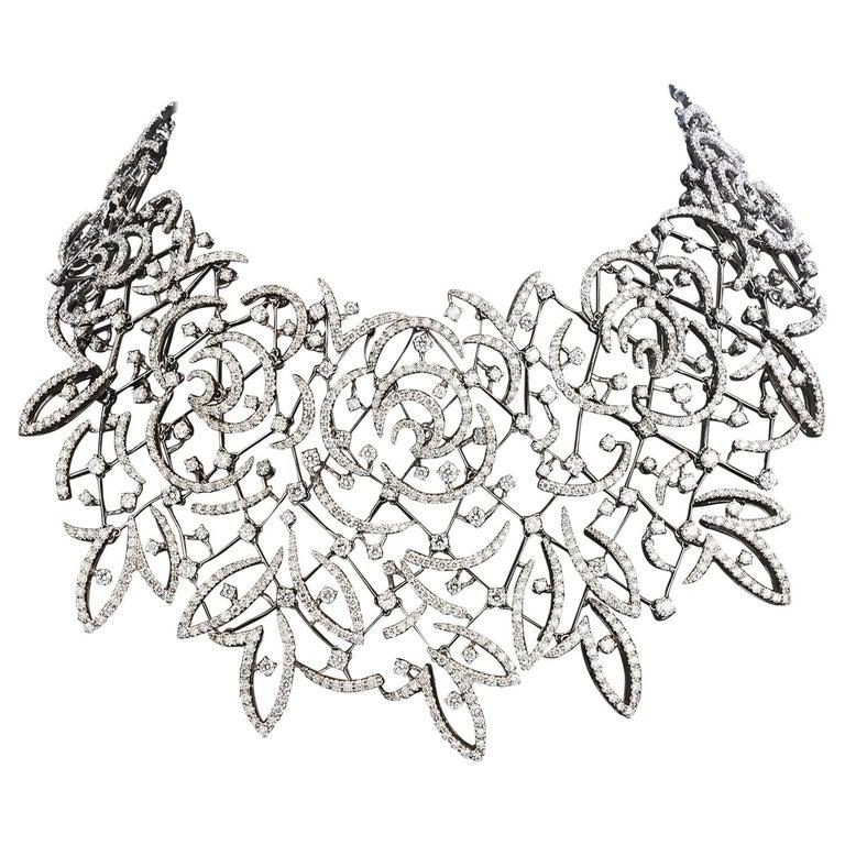 Stefan Hafner Diamond Lace 18k White Gold chocker Necklace For Sale
