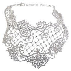 Stefan Hafner Diamond Lace Large Bib White Gold Necklace