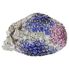Stefan Hafner Diamond Multi-Color Sapphire Charm Gold Ring