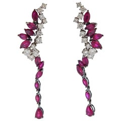 Stefan Hafner Diamond Ruby Gold Cocktail Earrings
