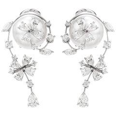 Stefan Hafner Diamond South Sea Pearl 18k Gold Floral Earrings