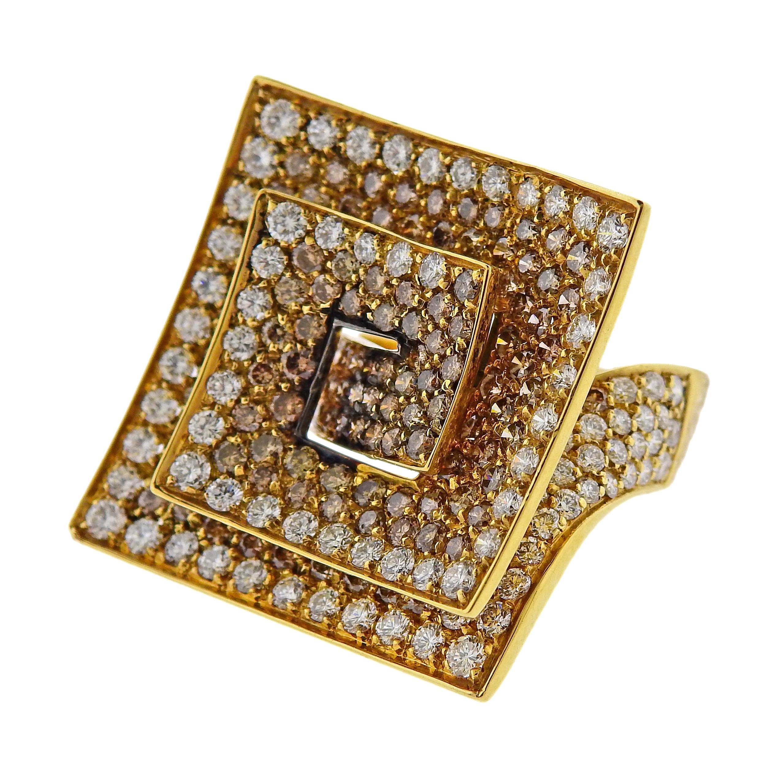 Stefan Hafner Fancy Diamond Gold Cocktail Ring