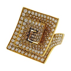 Stefan Hafner Fancy Diamond Gold Cocktail Ring