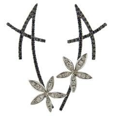 Stefan Hafner Gold Black White Diamond Flower Earrings