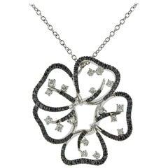 Stefan Hafner Gold Black White Diamond Flower Pendant Necklace