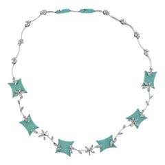 Stefan Hafner Gold Diamond Blue Enamel Necklace