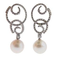 Stefan Hafner Gold Diamond Pearl Drop Earrings