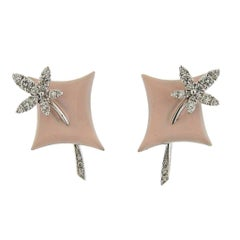 Stefan Hafner Gold Diamond Pink Enamel Earrings