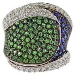 Stefan Hafner Gold Diamond Sapphire Diamond Ring