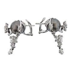 Stefan Hafner Gold Diamond Tahitian Pearl Flower Earrings