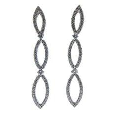 Stefan Hafner Gold Diamond Three Link Earrings