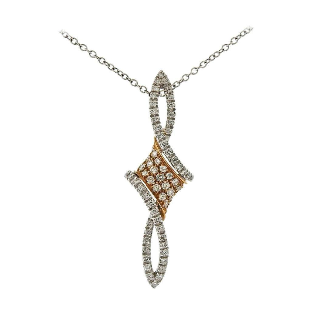 Stefan Hafner Gold Diamond Twisted Pendant Necklace