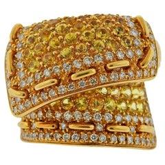 Stefan Hafner Gold Diamond Yellow Sapphire Stitch Motif Ring
