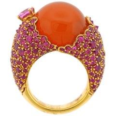 Stefan Hafner Gold Fire Opal Pink Sapphire Ring