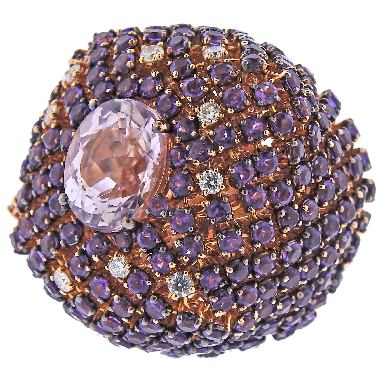 Stefan Hafner Kunzite Amethyst Diamond Rose Gold Cocktail Ring