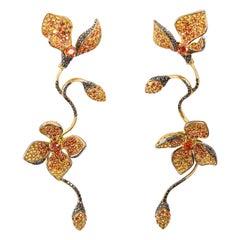 Stefan Hafner Long Floral Yellow Sapphire Gemstone Dangle Earrings