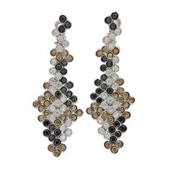 Stefan Hafner Multi-Color Diamond Gold Drop Earrings
