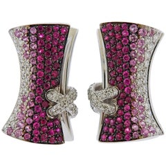 Stefan Hafner Multi-Color Sapphire Diamond Corset Gold Earrings