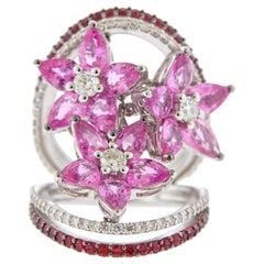 Stefan Hafner Pink Sapphire Diamond Gemstone Gold Cocktail Ring