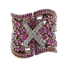 Stefan Hafner Pink Sapphire Diamond Gold Corset Ring