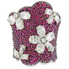Stefan Hafner Ruby Diamond Gold Cocktail Ring
