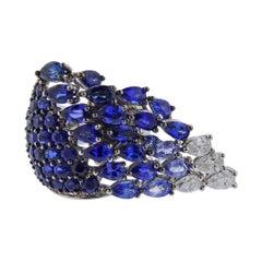 Stefan Hafner Sapphire Diamond Gold Tassel Ring