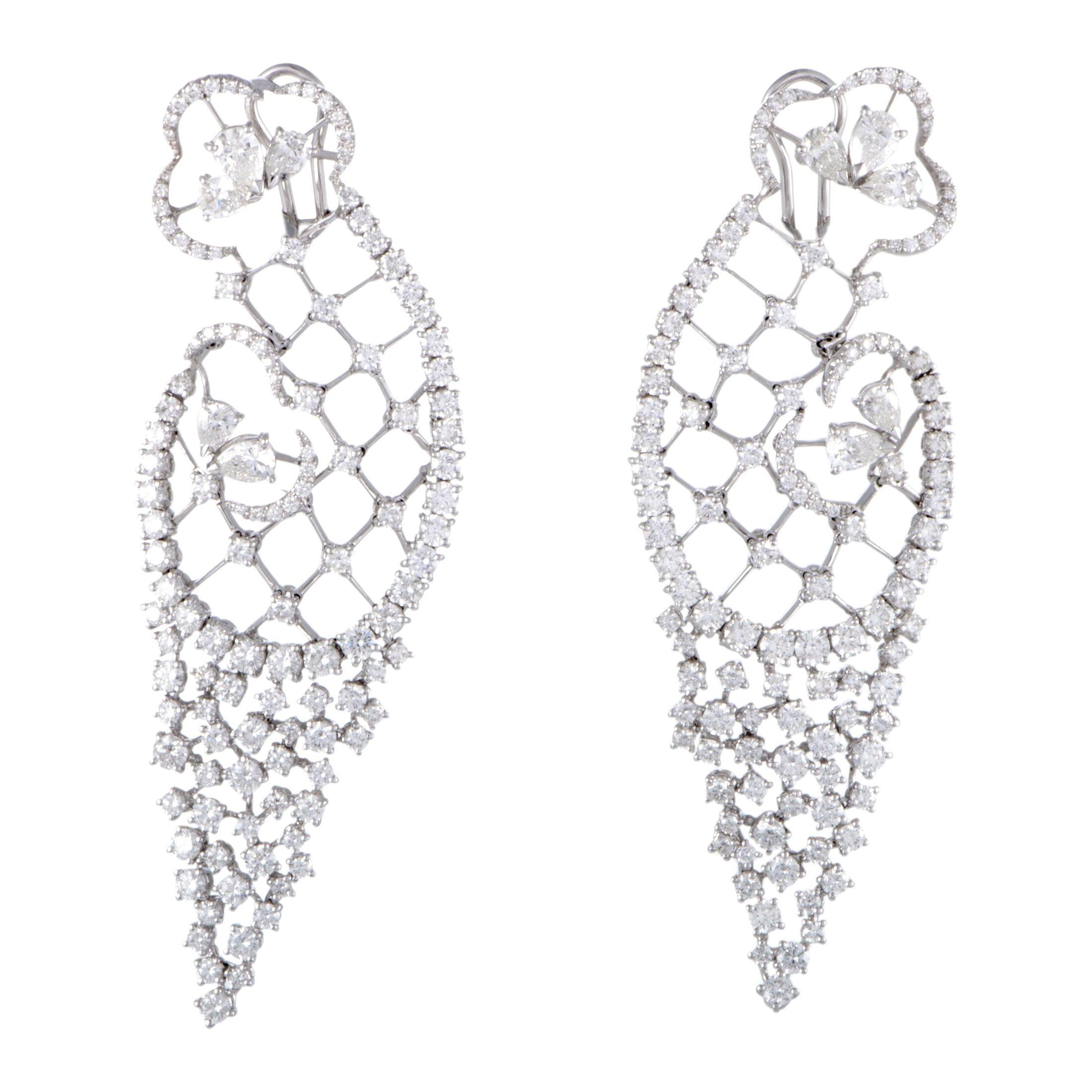 Stefan Hafner White Gold Full Diamond Large Omega Earrings