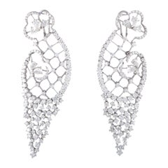 Stefan Hafner White Gold Full Diamond Large Omega Earrings