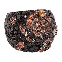 Stefan Hafner White Gold Orange and Black Sapphire Ring