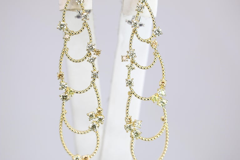 Stefan Hafner Yellow Gold Diamond Chandelier Earrings For Sale 4