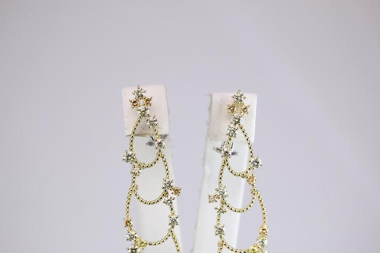 Stefan Hafner Yellow Gold Diamond Chandelier Earrings For Sale 5
