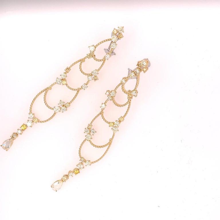 Round Cut Stefan Hafner Yellow Gold Diamond Chandelier Earrings For Sale