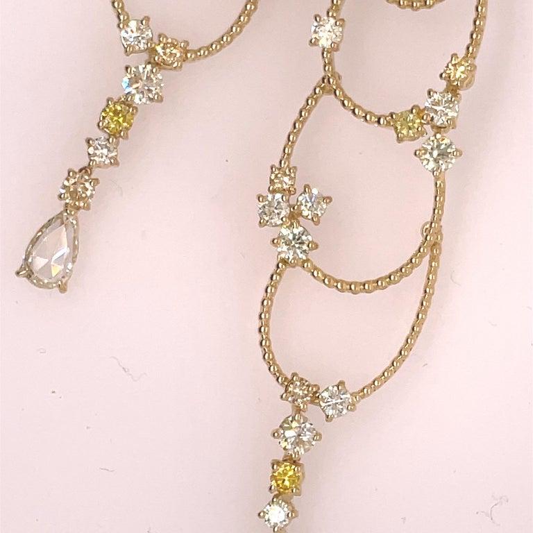 Stefan Hafner Yellow Gold Diamond Chandelier Earrings In Good Condition For Sale In Dallas, TX