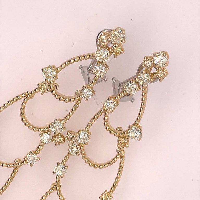 Women's Stefan Hafner Yellow Gold Diamond Chandelier Earrings For Sale