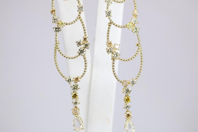 Stefan Hafner Yellow Gold Diamond Chandelier Earrings For Sale 2