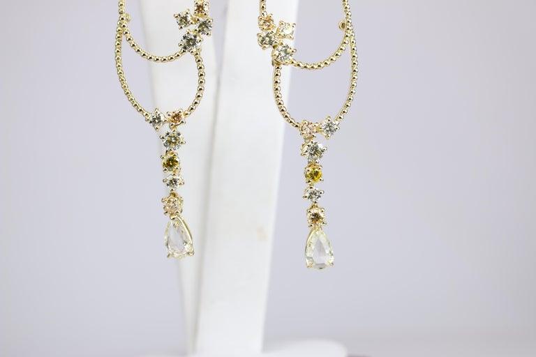 Stefan Hafner Yellow Gold Diamond Chandelier Earrings For Sale 3
