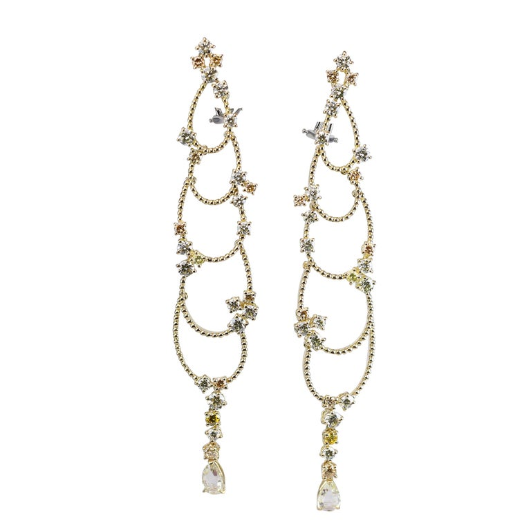 Stefan Hafner Yellow Gold Diamond Chandelier Earrings For Sale
