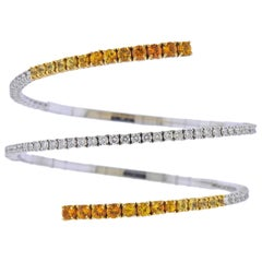 Stefan Hafner Yellow Orange Sapphire Diamond Gold Wrap Bracelet