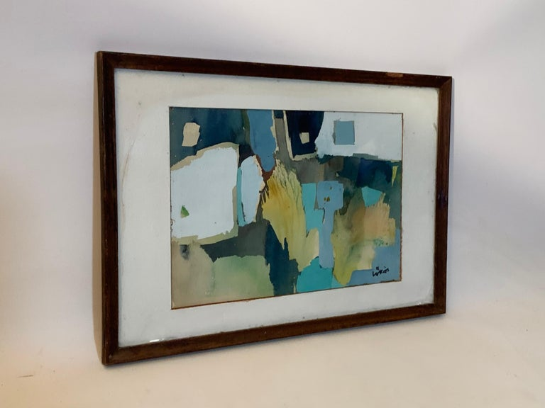 Mid-Century Modern Stefan Lokos Abstract Watercolor For Sale