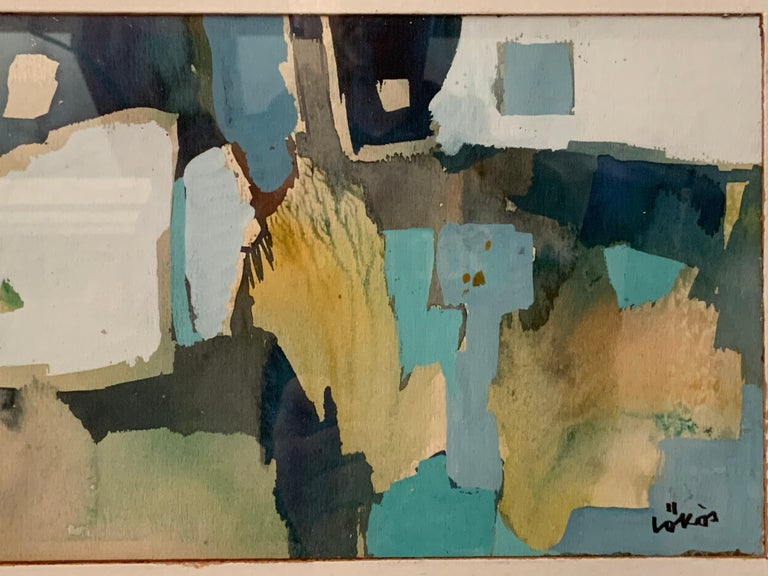 Mid-20th Century Stefan Lokos Abstract Watercolor For Sale