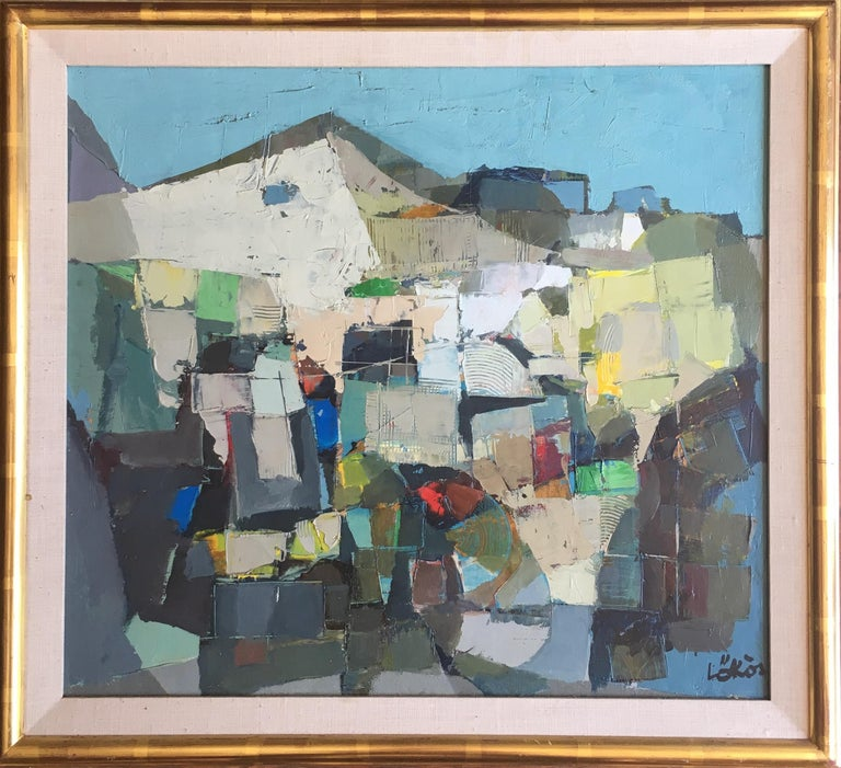 Stefan Lokos (American/Hungarian, 1913-1994) Abstract Landscape Oil on canvas Signed lower right Sight: 17 1/2in H x 19 1/2in L In gilt frame: 21 3/4 in H x 23 1/2in L  Born in Hungary, Lokos studied at the Royal Academy of Fine Art in Budapest. He